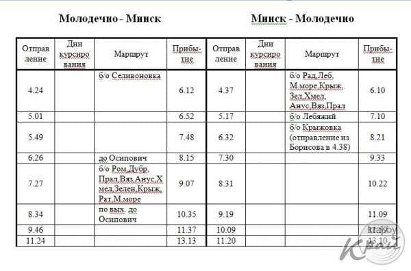Расписание движения электричек