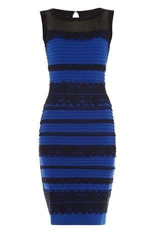 какого цвета платье сине чёрное или бело золотое